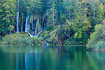 Waterfall, Plitvice Lakes National Park, Croatia ,  heavily forested, mainly with beech, spruce, and fir trees