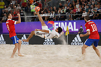 29th August 2021; Luzhniki Stadium, Moscow, Russia: FIFA World Cup Beach Football tournament; Russia versus Japan; Artur Paporotnyi and Boris Nikonorov of Russia watch Takuya Akaguma of Japan as he attampt a bicycle kick shot on goal during the match between Russia and Japan