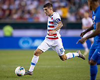 PHILADELPHIA, PA - JUNE 30: Christian Pulisic #10 attacks during a game between Curaçao and USMNT at Lincoln Financial Field on June 30, 2019 in Philadelphia, Pennsylvania.