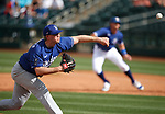 Garrett Cleavinger pitches in a spring training game between the Texas Rangers and Los Angeles Dodgers in Surprise, Ariz., on Sunday, March 7, 2021.<br /> Photo by Cathleen Allison