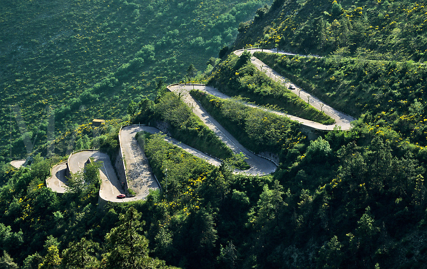 France. Alpes du Sud. Col de Braus road, a switchback route between Sospel and l'Escarene.