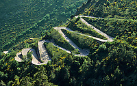 France. Alpes du Sud. Col de Braus road, a switchback route between Sospel and l'Escarene.