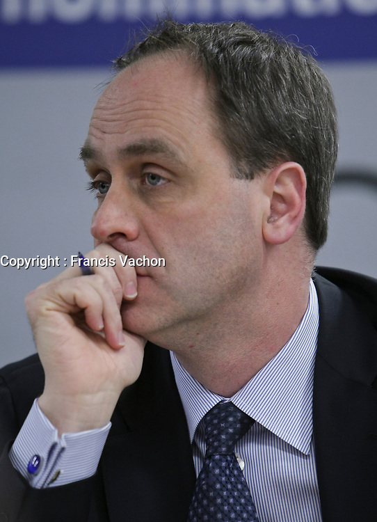 Andre Ryan listens as commissioner Michel Bastarache unveils the report of his inquiry in the appointment of judges, commonly know as the Commission Bastarache, Wednesday January 19, 2011.<br /> <br /> PHOTO :  Francis Vachon - Agence Quebec Presse