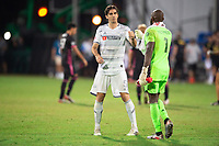 LAKE BUENA VISTA, FL - JULY 27: Dejan Jakovic #5 and Kenneth Vermeer #1 of LAFC celebrate a victory during a game between Seattle Sounders FC and Los Angeles FC at ESPN Wide World of Sports on July 27, 2020 in Lake Buena Vista, Florida.