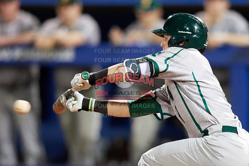 Siena Saints center fielder Brendan Conley (1) lays down a bunt during a game against the Florida Gators on February 16, 2018 at Alfred A. McKethan Stadium in Gainesville, Florida.  Florida defeated Siena 7-1.  (Mike Janes/Four Seam Images)