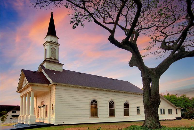 Koloa Union Church with moon. United Church of Christ. Kauai, Hawaii