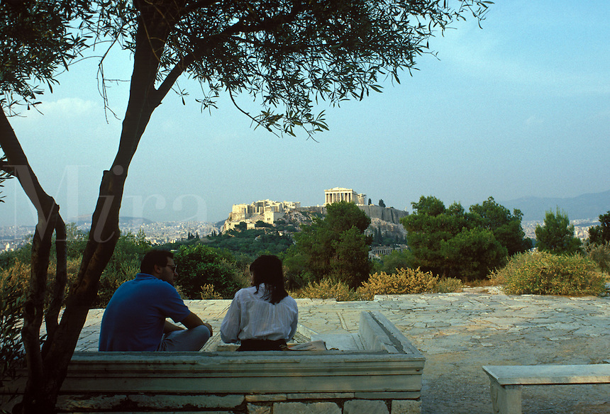 Looking from the Hill of the Muses toward the Parthenon and other buildings on the Acropolis.