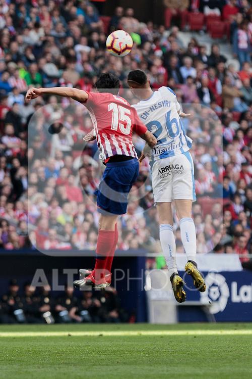 Atletico de Madrid's Stefan Savic and CD Leganes's Youssef En-Nesyri during La Liga match between Atletico de Madrid and CD Leganes at Wanda Metropolitano stadium in Madrid, Spain. March 09, 2019. (ALTERPHOTOS/A. Perez Meca)
