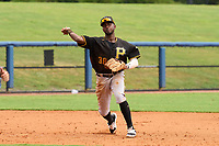 FCL Pirates Black third baseman Juan Jerez (38) throws to first base during a game against the FCL Rays on August 3, 2021 at Charlotte Sports Park in Port Charlotte, Florida.  (Mike Janes/Four Seam Images)
