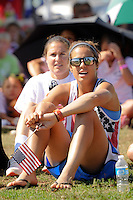 Casey Nogueira (27) of Sky Blue FC watch the finals of the 2011 FIFA Women's World Cup prior to a Women's Professional Soccer (WPS) match between Sky Blue FC and the Western New York Flash at Yurcak Field in Piscataway, NJ, on July 17, 2011.