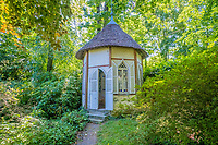 BNPS.co.uk (01202 558833)<br /> Pic: LeggettPrestige/BNPS<br /> <br /> PICTURED: There is also a thatched summer house overlooking the gardens, which feature a hectare of woodland.<br /> <br /> A luxurious French chateau in a village liberated by the celebrated US general George Patton in World War Two has gone on the market for £1.35million.<br /> <br /> A stunning 19th century French chateau has emerged on the market for £1.35million - the same price as a terraced house in London.<br /> <br /> The Normandy property, located on the edge of the Bay of Mont Saint Michel, has 10 bedroom suites and is set in 14 hectares of manicured parkland.<br /> <br /> It also has equestrian facilities including 12 stables, as well as paddocks, a barn and a cottage.