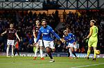 03.04.2019 Rangers v Hearts: Connor Goldson celebrates as he scores goal no 2