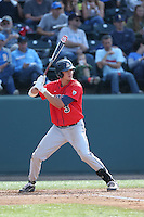 Bobby Dalbec (3) of the Arizona Wildcats bats during a game against the UCLA Bruins at Jackie Robinson Stadium on May 16, 2015 in Los Angeles, California. UCLA defeated Arizona, 6-0. (Larry Goren/Four Seam Images)