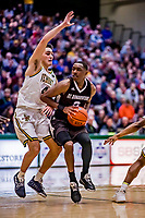 18 December 2018: St. Bonaventure University Bonnies Guard Kyle Lofton, a Freshman from Hillside, NJ, in second-half action against the University of Vermont Catamounts at Patrick Gymnasium in Burlington, Vermont. The Catamounts defeated the Bonnies 83-76 in a double-overtime NCAA DI game. Mandatory Credit: Ed Wolfstein Photo *** RAW (NEF) Image File Available ***
