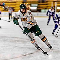 16 February 2019: University of Vermont Catamount Defender Sini Karjalainen, a Freshman from Posio, Finland, in action against the Holy Cross Crusaders at Gutterson Fieldhouse in Burlington, Vermont. The Lady Cats defeated the Crusaders 4-1 to sweep their 2-game weekend series. Mandatory Credit: Ed Wolfstein Photo *** RAW (NEF) Image File Available ***