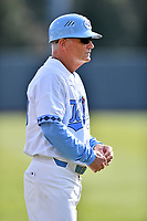 North Carolina Tar Heels head coach Mike Fox (30) during a game against the Pittsburgh Panthers at Boshamer Stadium on March 17, 2018 in Chapel Hill, North Carolina. The Tar Heels defeated the Panthers 4-0. (Tony Farlow/Four Seam Images)