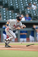 Second baseman Greg Cullen (18) of the Rome Braves bats in a game against the Columbia Fireflies on Tuesday, June 4, 2019, at Segra Park in Columbia, South Carolina. Columbia won, 3-2. (Tom Priddy/Four Seam Images)