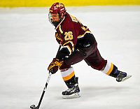 3 January 2009: Ferris State Bulldogs' left wing forward Mike Embach, a Sophomore from Orland Park, IL, in action against the Colgate Raiders during the consolation game of the 2009 Catamount Cup Ice Hockey Tournament hosted by the University of Vermont at Gutterson Fieldhouse in Burlington, Vermont. The two teams battled to a 3-3 draw, with the Bulldogs winning a post-game shootout 2-1, thus placing them third in the tournament...Mandatory Photo Credit: Ed Wolfstein Photo