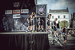 Cyclane Pro Cycling team at sign on before the 2018 Liege-Bastogne-Liege Femmes running 136km from Bastogne to Ans, Belgium. 22nd April 2018.<br /> Picture: ASO/Thomas Maheux | Cyclefile<br /> All photos usage must carry mandatory copyright credit (© Cyclefile | ASO/Thomas Maheux)