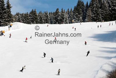 Oesterreich, Salzburger Land, Saalbach-Hinterglemm: beliebtes Skigebiet bei Zell am See, Skipiste   Austria, Salzburger Land, Saalbach-Hinterglemm: popular ski resort near Zell am See, ski run