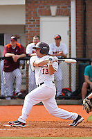 Johnny Morales #13 of the Virginia Tech Hokies at bat during a game against the University of Indiana Hoosiers at Watson Stadium at Vrooman Field in Conway, South Carolina on February 18, 2011. Photo by Robert Gurganus/Four Seam Images