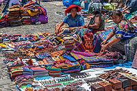Antigua, Guatemala.  Saturday Souvenir Market for Tourists, El Carmen Church and Convent Ruins.