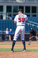 Peoria Javelinas starting pitcher Jeremy Walker (58), of the Atlanta Braves organization, gets ready to deliver a pitch during an Arizona Fall League game against the Scottsdale Scorpions at Peoria Sports Complex on October 18, 2018 in Peoria, Arizona. Scottsdale defeated Peoria 8-0. (Zachary Lucy/Four Seam Images)