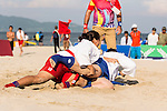 NGUYEN THI NHU Y of Vietnam fights against MURASE Haruka of Japan during the Sambo Women's +72kg Final - Gold Medal on Day Nine of the 5th Asian Beach Games 2016 at Bien Dong Park on 02 October 2016, in Danang, Vietnam Photo by Marcio Machado / Power Sport Images