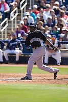 March 13, 2010 - Colorado Rockies' Eric Young, Jr. #4 during a spring training game against the Milwaukee Brewers at Maryvale Baseball Park in Phoenix, Arizona.