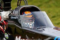 May 15, 2015; Commerce, GA, USA; NHRA top fuel driver Cory McClenathan during qualifying for the Southern Nationals at Atlanta Dragway. Mandatory Credit: Mark J. Rebilas-USA TODAY Sports