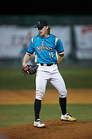 Mooresville Spinners pitcher Brennen Oxford (15) (Wake Forest) looks to his catcher for the sign against during an exhibition game against the Race City Bootleggers at Moor Park on July 23, 2020 in Mooresville, NC. (Brian Westerholt/Four Seam Images)