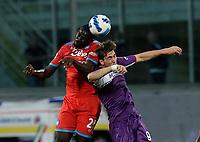3rd October 2021; Franchi Stadium, Florence, Italy; Serie A football, Fiorentina versus Napoli : Kalidou Koulibaly of Napoli challenges Dusan Vlahovic of Fiorentina