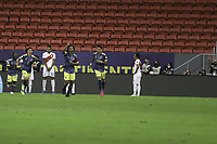9th July 2021, Brasilia, Federal District, Brazil:  Celebration for the goal scored by Juan Cuadrado of Colombia, during the match between Colombia and Peru for 3rd place in Copa America 2021, held at Mane Garrincha stadium, in Brasilia, Federal District