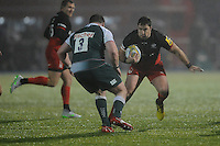 Brad Barritt of Saracens looks to go past Fraser Balmain of Leicester Tigers during the Premiership Rugby match between Saracens and Leicester Tigers - 02/01/2016 - Allianz Park, London<br /> Mandatory Credit: Rob Munro/Stewart Communications