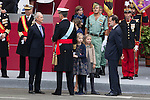 King Felipe VI of Spain, Princess Sofia of Spain, Princess Leonor of Spain, Queen Letizia of Spain and President of the Goberment of Spain Mariano Rajoy during Spanish National Day military parade in Madrid, Spain. October 12, 2015. (ALTERPHOTOS/Victor Blanco)