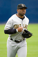 June 1, 2008: Salt Lake Bees' Dee Brown trots in from the outfield during a game against the Tacoma Rainiers at Cheney Stadium in Tacoma, Washington.