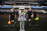 Pictured: Match referee Scott Oldham leads the teams out Monday 15 May 2017<br />Re: Premier League Cup Final, Swansea City FC U23 v Reading U23 at the Liberty Stadium, Wales, UK
