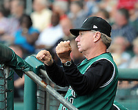 Manager Dave Machemer (21) of the Augusta GreenJackets, Class A affiliate of the San Francisco Giants, in a game against the Greenville Drive on May 20, 2010, at Fluor Field at the West End in Greenville, S.C. Photo by: Tom Priddy/Four Seam Images