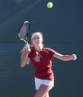 STANFORD, CA - MARCH 1, 2015--Stanford women's tennis player Krista Hardebeck, return the ball back to a  CAL Berkley player during Sunday's match at  at the Taube Family Tennis Stadium.