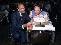 JUne 1985 File Photo - Jean DeGrandpre, CEO, BCE (L) and Claude Brunet, Founder and President, Conseil pour la Protection des Malades attend '' La Fete des Malades''' 1985 edition<br /> <br /> PHOTO :  Agence Quebec Presse
