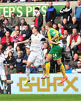 Swansea v Norwich, Liberty Stadium, Saturday 29th march 2014...<br /> <br /> <br /> <br /> Swansea's Alvaro Vazquez winning the header.