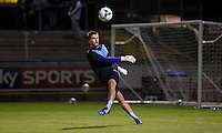 Goalkeeper Matt Ingram of Wycombe Wanderers warms up during the Johnstone's Paint Trophy match between Bristol Rovers and Wycombe Wanderers at the Memorial Stadium, Bristol, England on 6 October 2015. Photo by Andy Rowland.