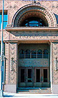 Louis Sullivan: Guaranty Bldg. Entrance. (The building became the Prudential Bldg. about 2 years after construction.  Photo '88.
