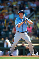 Tampa Bay Rays first baseman Casey Gillaspie (71) at bat during a Spring Training game against the Pittsburgh Pirates on March 10, 2017 at LECOM Park in Bradenton, Florida.  Pittsburgh defeated New York 4-1.  (Mike Janes/Four Seam Images)