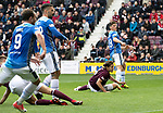 St Johnstone v Hearts…29.09.18…   Tynecastle     SPFL<br />Ross Callachan scores for saints<br />Picture by Graeme Hart. <br />Copyright Perthshire Picture Agency<br />Tel: 01738 623350  Mobile: 07990 594431