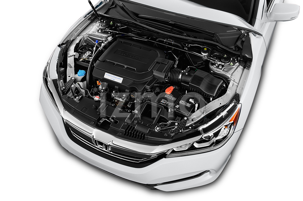 Car Stock 2017 Honda Accord EX-L 4 Door Sedan Engine  high angle detail view