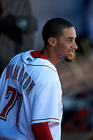Peoria Javelinas outfielder Billy Hamilton #77, of the Cincinnati Reds organization, during an Arizona Fall League game against the Salt River Rafters at Peoria Stadium on October 17, 2012 in Peoria, Arizona.  Salt River defeated Peoria 12-9.  (Mike Janes/Four Seam Images via AP Images)