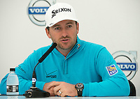 14.10.2014. The London Golf Club, Ash, England. The Volvo World Match Play Golf Championship.  Defending champion Graeme McDowell (NIR) at the morning press conference.