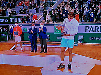 Paris, France, 10 /10/ 2020, Tennis, French Open, Roland Garros,  Men's final: rrunner up Novak Djokovic (SRB) and winner Rafael Nadal (ESP)<br /> Photo: tennisimages.com