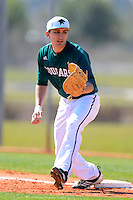 Chicago State University Cougars first baseman Ray Cekus #14 during a game against the St. Bonaventure Bonnies at South County Regional Park on March 3, 2013 in Punta Gorda, Florida.  (Mike Janes/Four Seam Images)